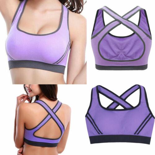 US HOT Fitness Yoga Bra Wireless Sweat Absorb Breathable Padded Vest Stretch Bra
