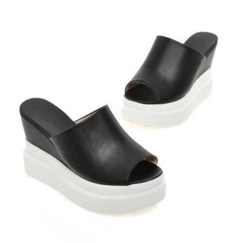 Bottines Femme À Enfiler Talon Compensé Plat Talons Creeper Bout Ouvert Neuf Sandales Chaussures Plateforme