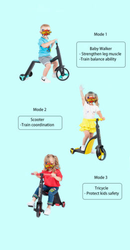 Multi-function 3-in-1 Scooter Tricycle For Kids 1-5 years old 3 colour choose