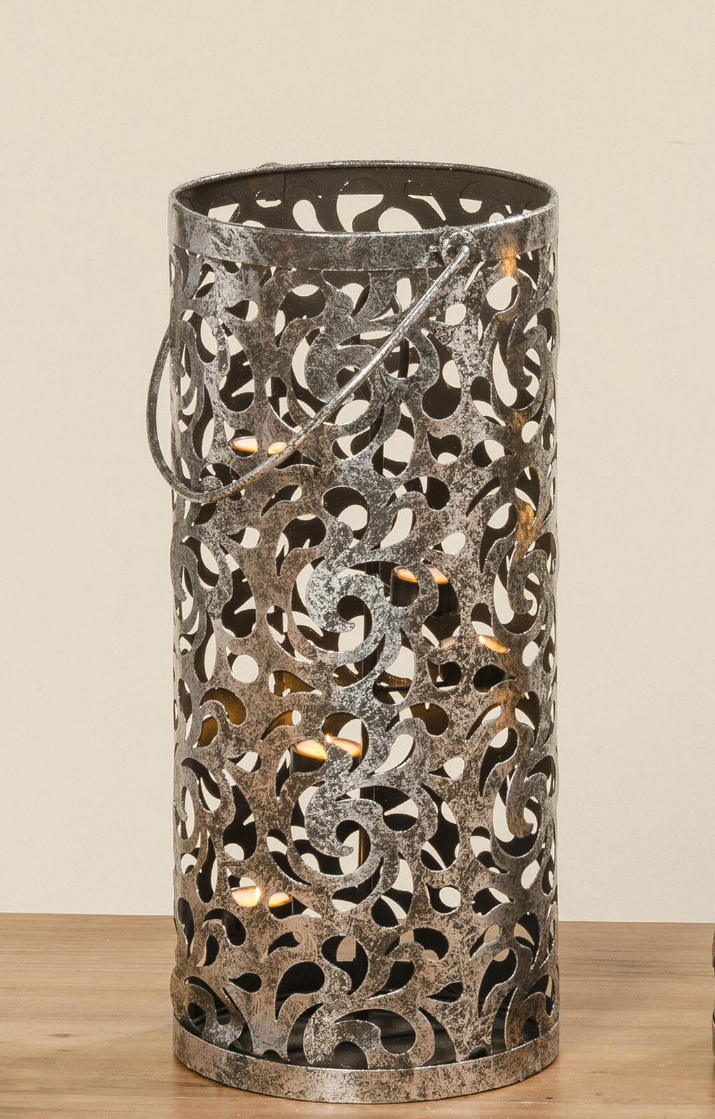 Viento luz farol cahaja 50 cm plata diseño antiguo patrón floral metal henkel