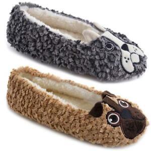 Ladies-Novelty-Pug-Bulldog-Knitted-Plush-Ballet-Slipper-Socks-Gripper-Soles