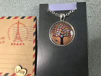 Silver Plated Aus Post Stamp Art Tree Of Life Pendant Chain Australian Hand Made