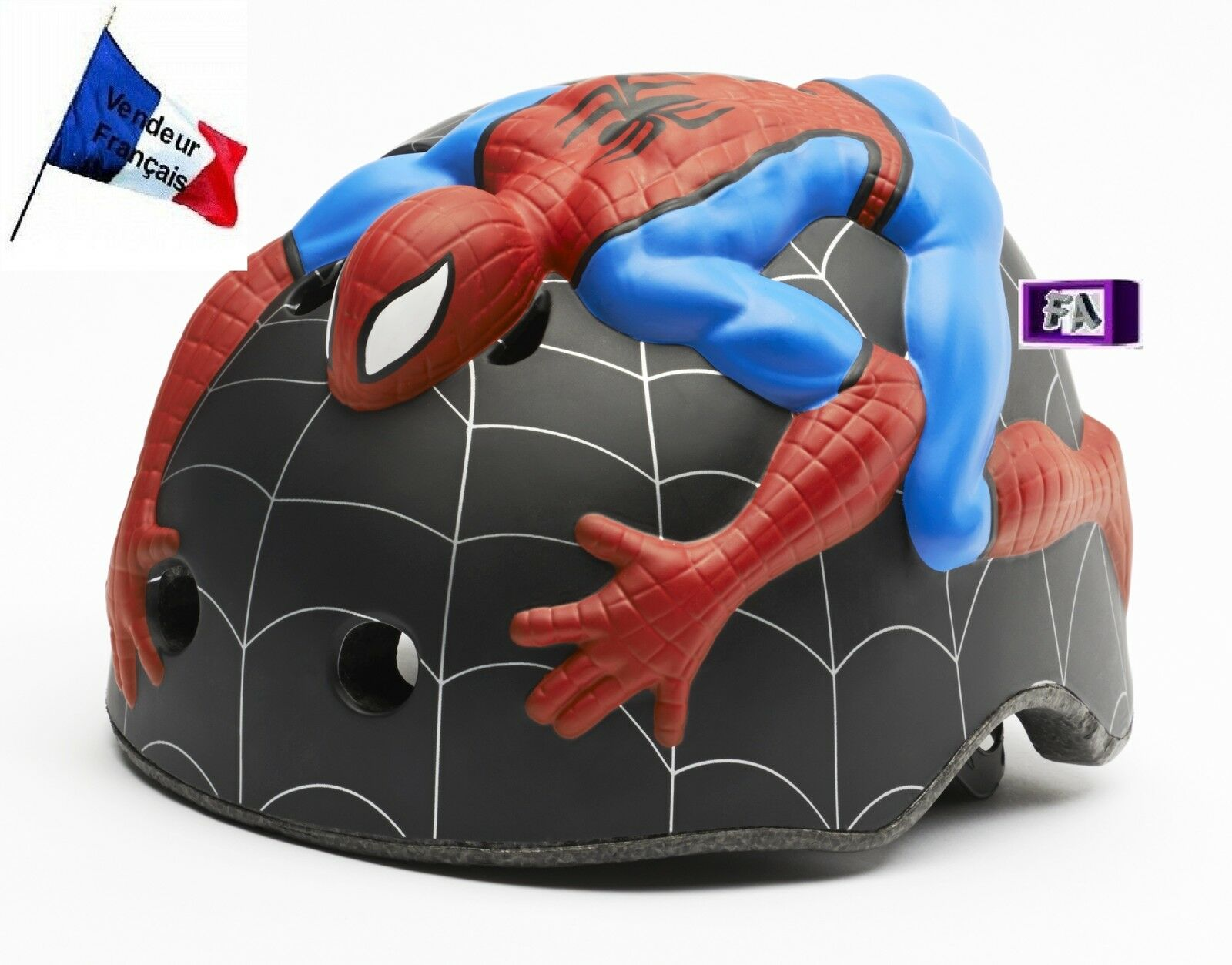 Casco ciclismo niño 1-3 año 3D Spiderman regulable CRAZY SAFETY amazing 46-51