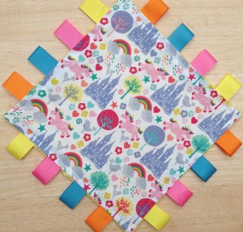 "Taggy Blanket  9/"" Square Personalisedunicorn And Rainbow Taggie Comfort Blanket"