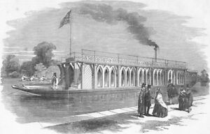 OXON. Barge of Oxford University boat-club, antique print, 1855