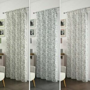 FLORAL-LEAVES-LEAF-SLOT-TOP-SOFT-FOLD-SHEER-VOILE-NET-CURTAIN-PANEL-S-3-COLOURS