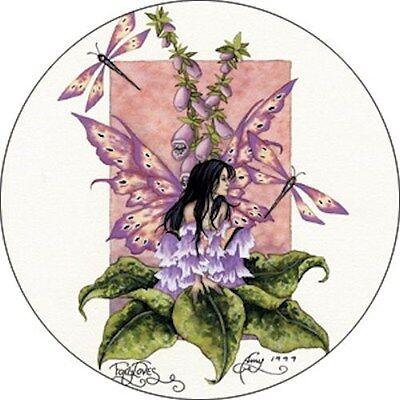 Amy Brown Foxgloves Flower Faery Fairy Button Pin Badge dragonfly garden fantasy