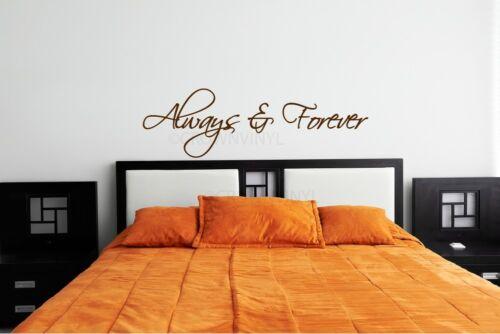 Always /& Forever Amour Romantique Chambre À Coucher Autocollant vinyle Wall Art Mural Décoration Autocollant
