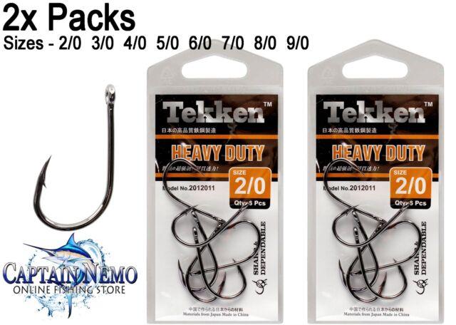 2X PACKS TEKKEN HEAVY DUTY HOOKS SIZE 2/0-9/0 CHEMICALLY SHARPENED  2012011