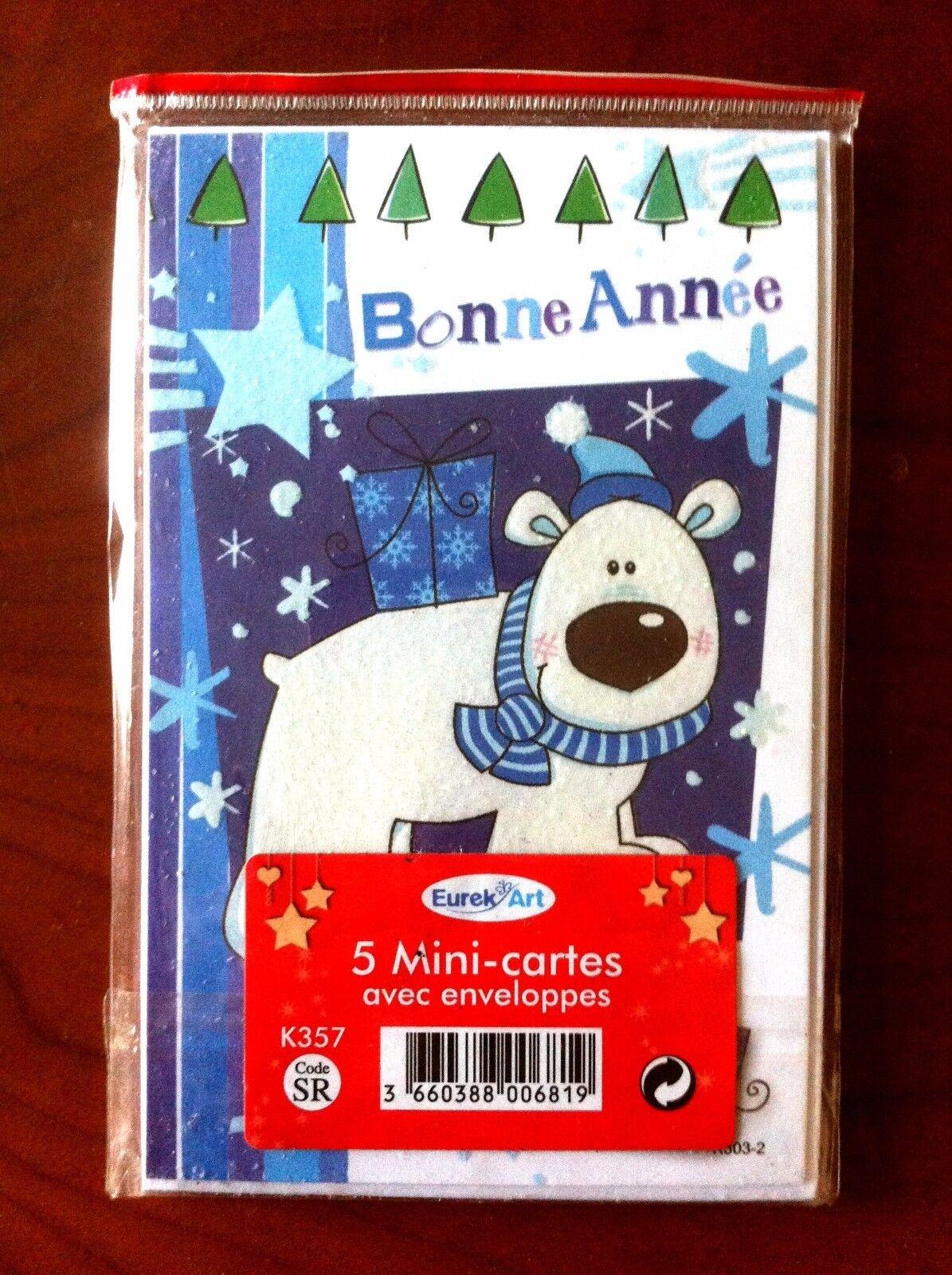 A)lot 5 enveloppes Cartes Bonne Année Neuves avec enveloppes 5 6e1414