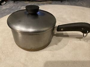 Vintage-1801-Revere-Ware-Double-Ring-Copper-Bottom-2qt-Sauce-Pan-Pot-Stainless