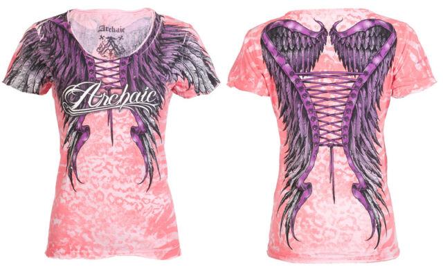 Archaic AFFLICTION Women T-Shirt SIMPLE SPIRIT Wings Biker UFC Sinful S-XL $40 b