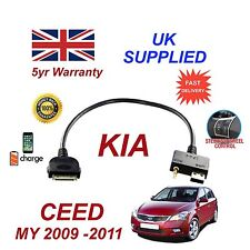 For KIA Ceed iPhone 3 3gs 4 4S iPod USB & 3.5mm Aux Cable 09-11