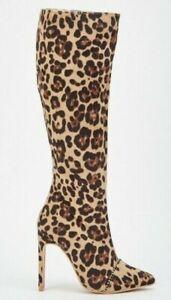 leopard high heel boots