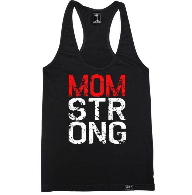 MOM STRONG WOMEN RACERBACK TANK TOP SHIRT CROSSFIT FLEX HOT TRAIN YOGA GYM SQUAT