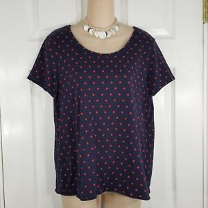 2f516d62d69 Details about GAP Size Medium Petite MP Navy & Red Polka Dot Short Sleeve  Shirt Top Womens PM