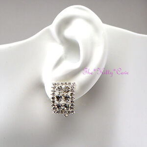 Silver-Rhodium-Plated-Rectangle-Trellis-Clip-on-Earrings-w-Swarovski-Crystals