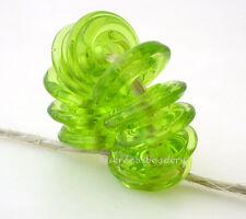 LIGHT GRASS GREEN WAVY DISCS * Handmade Lampwork Glass Beads TANERES sra