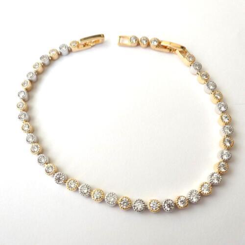 environ 19.99 cm Femme Homme Tennis Bracelet Silver Gold Tone blanc zircons 7.08-7.87 in 11 Q