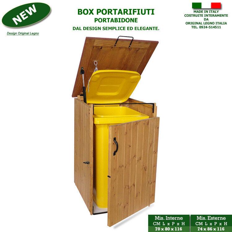 Box in legno portabidone per rifiuti condominio raccolta differenziata casetta