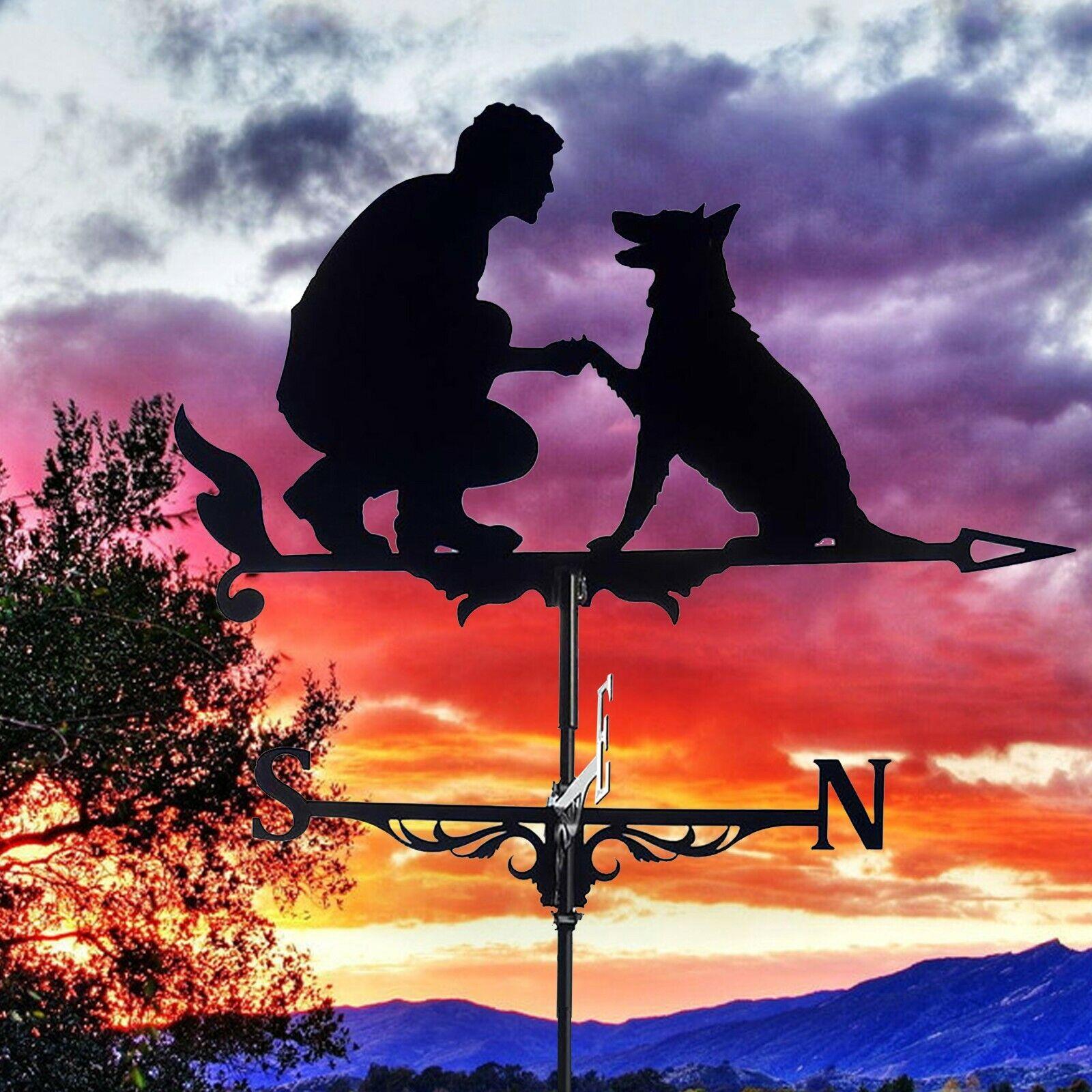 Vintage Metal Weather Vane Outdoor Garden Yard Decor Rooster Dog Witch Halloween