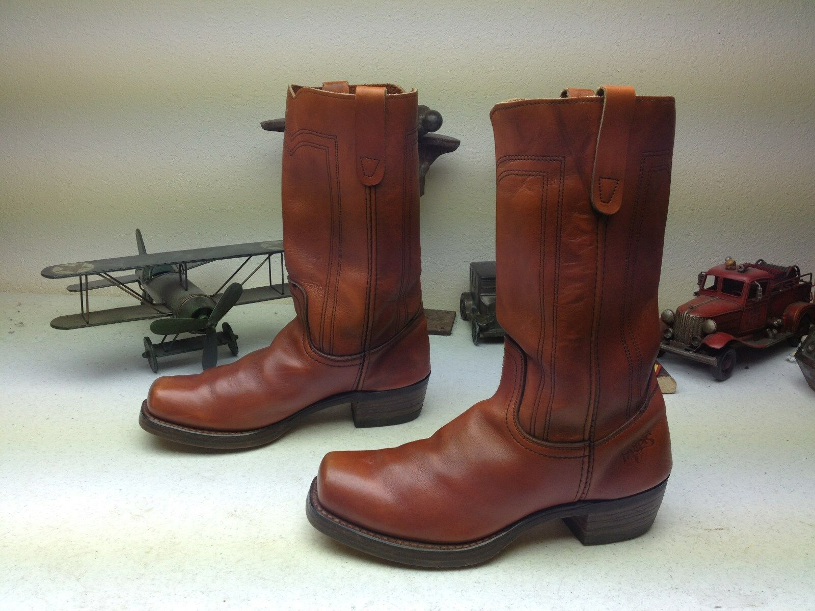 BROWN COPPER LEATHER LANDIS WESTERN SQUARE TOE CAMPUS ROAD VINTAGE BOOTS SIZE 8M