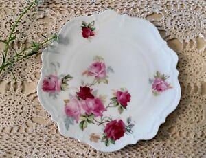 Antique C.t (1875-1900) Allemagne Porcelaine Assiette Avec Pink Rose-afficher Le Titre D'origine Eeuktksq-07213412-775729642