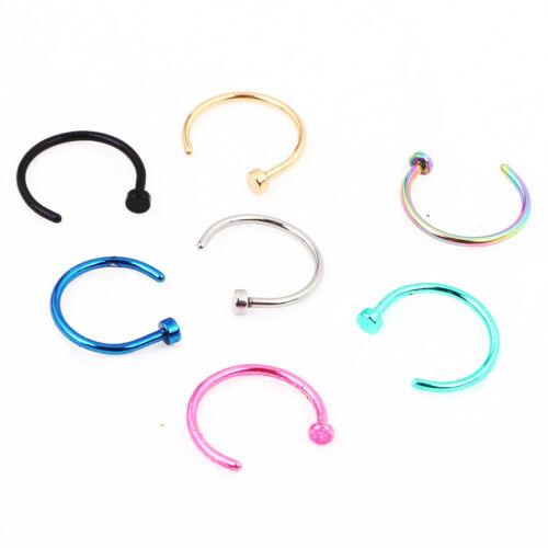 Body Jewellery Nose Bone Hoop Ring 0.8mm Anodized 20G 8mm diameter