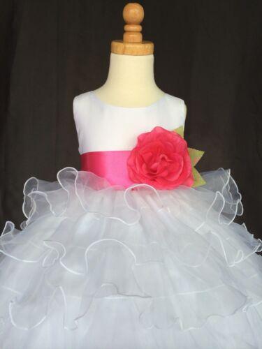 White Organza Flower Girl Dress S M L XL 2 4 6 8 10 12 14 Wedding Pageant #014