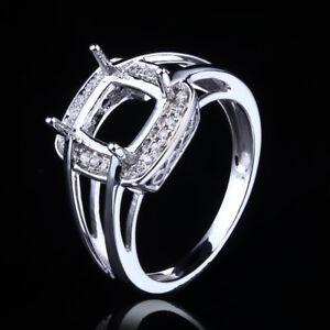 925-Silver-Semi-Mount-Diamonds-Engagement-Wedding-Fine-Ring-7x7mm-Cushion-Cut