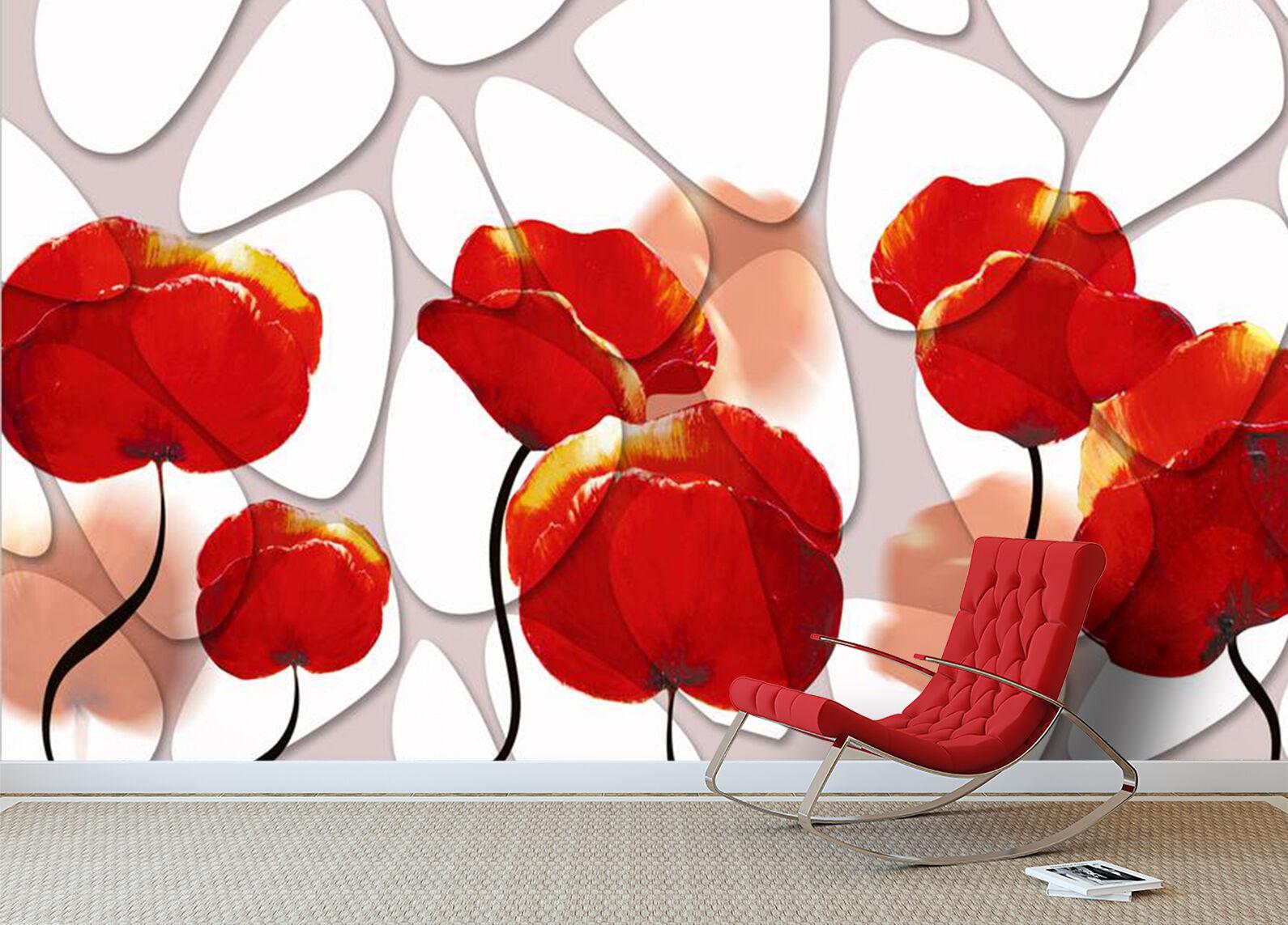 3D fiori rossi 40 Parete Murale Foto Carta da parati immagine sfondo muro stampa