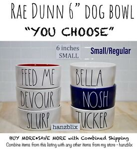 Rae-Dunn-Dog-Pet-Bowl-6-Inch-Small-Regular-034-YOU-CHOOSE-034-SLURP-DEVOUR-New-039-19-039-21