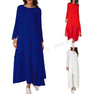 2928632a4a Image is loading Women-Loose-Abaya-Long-Sleeve-Asymmetric-Double-Layer-