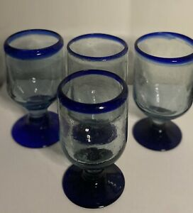 4 MEXICAN MOUTH BLOWN GLASSES Wine/Cocktail GOBLETS COBALT BLUE