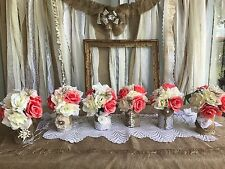 Coral Ivory Flower Wedding Centerpiece Bouquet Burlap Lace Cans Jars