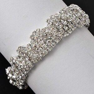 womens-Charm-Wrist-Crystal-cubic-zirconia-White-Silver-Plate-Chain-bracelet