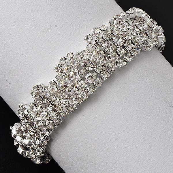 womens Charm Wrist Crystal cubic zirconia White Silver Plate Chain bracelet