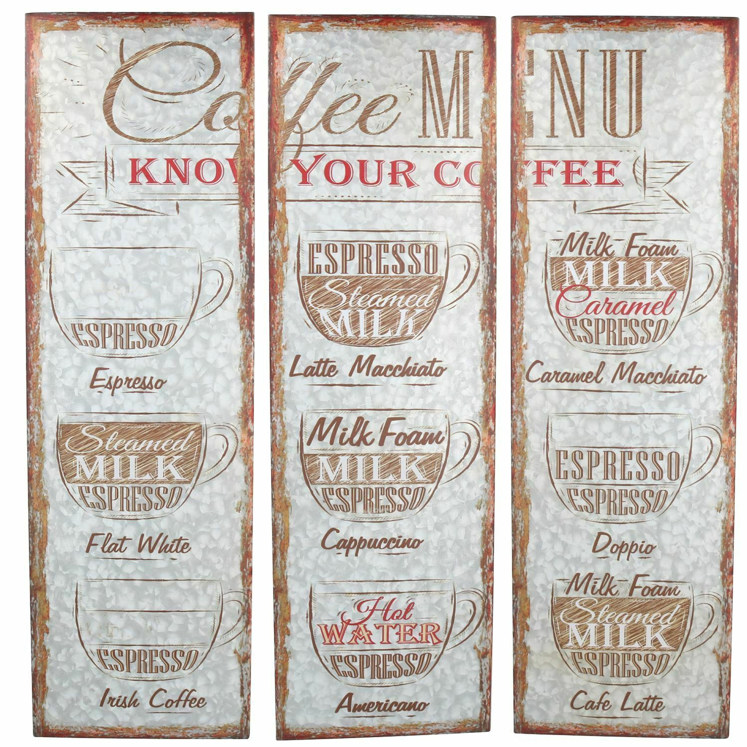 Hanging Set Of 3 Coffee Metal Sign Plaque Home PrePunched Holes 72x80cm
