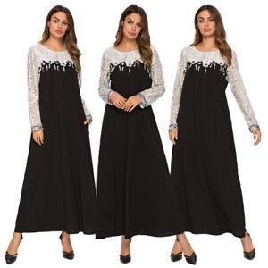 Abaya-Muslim-Islamic-Lady-Arab-Women-Lace-Kaftan-Maxi-Long-Dress-Cocktail-Gown