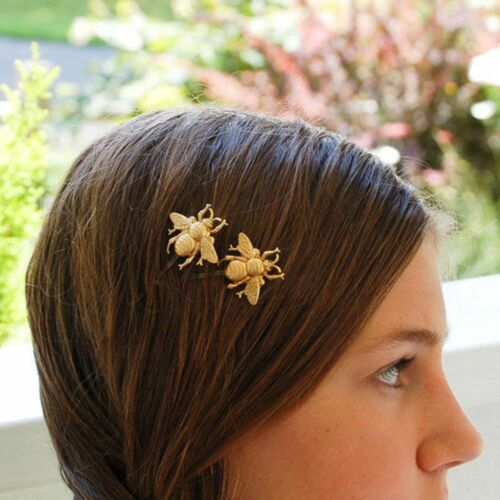 Jewelry Girls Fashion Bumble Bee Hair Clips Gold Tone Bobby Pins