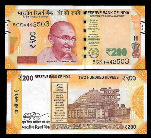UNC  LATEST Rs.200// Urjit Patel  Star Note /'PLAIN/' Inset  Prefix 5GK  2018