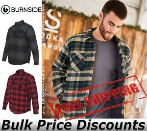 Burnside-Mens-Quilted-Flannel-Jacket-Shirt-8610-up-to-3XL