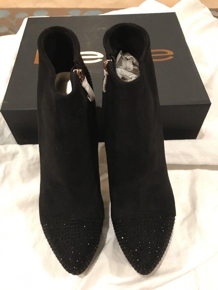 New, Bebe Bebe Bebe Anjalee Black Suede Platform High Heels Booties Crystals Womens 10 7fbcb3
