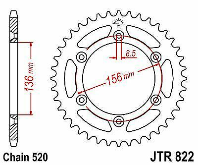 JT Rear Motorcycle Sprocket JTR822 43t fits Suzuki DR350 S-L,M,N,P 90-93