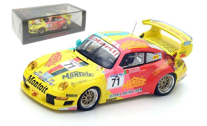 Spark S4758 Porsche 911 GT2  71 montoit Estoril Racing Le Mans 1998-escala 1 43