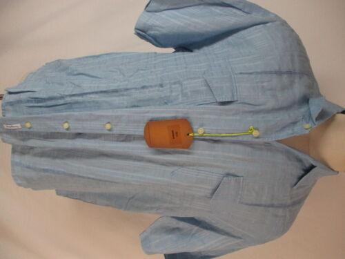 Tommy Bahama Mens Blue Plaid Linen Hawaiian Shirt