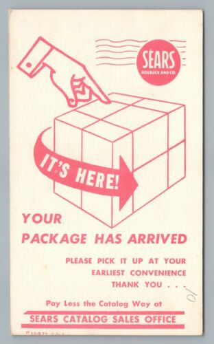 """It's Here—Your Package"" SEARS Roebuck—Rare Vintage Postal Card 1960s"