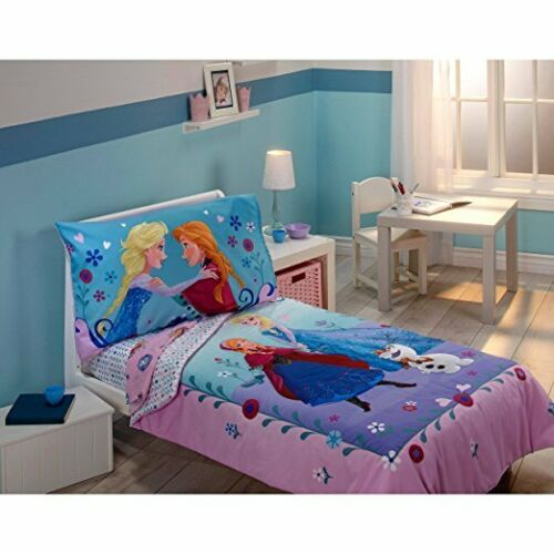 Disney Frozen Elsa and Anna Sisters Forever 4 Piece Toddler Bedding Set Girls