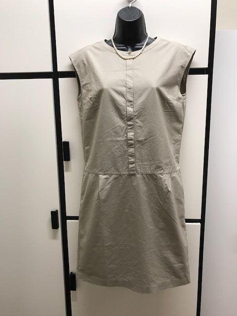 Margaret Howell XS Khaki Natural Poplin Cotton Minimalist Dress MHL I