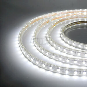 Cool white smd5050 120v high power flexible flat led strip rope la foto se est cargando cool white smd5050 120v high power flexible flat aloadofball Images